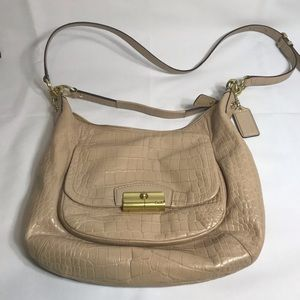 Coach Kristin Beige Alligator Leather Shoulder Bag